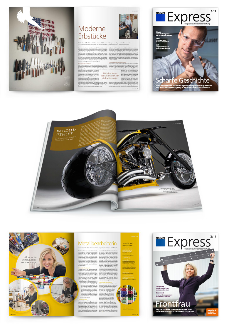 Layoutbeispiele aus dem Kundenmagazin TRUMPF Express von TRUMPF