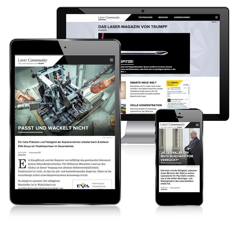 laser community trumpf online-magazin responsive